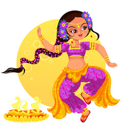 Diwali holiday and girl showing ritula dance vector