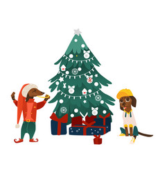 Dogs characters near christmas tree vector