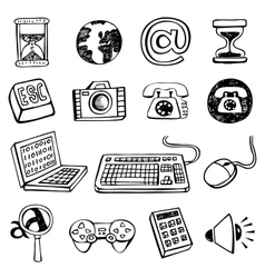 Doodle icon set vector image