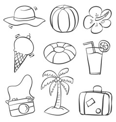 Doodle of object summer on beach vector