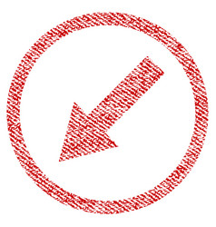 Down-left rounded arrow fabric textured icon vector