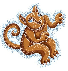 Drawing cat playing cute animal cool ki vector