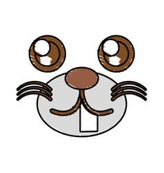 Drawing kawaii face animal vector