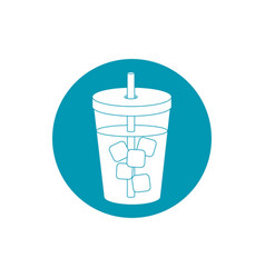 drinks beverage cold with ice cubes and straw blue vector image