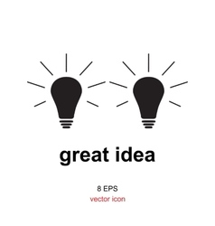 Exellent idea lamp icon vector