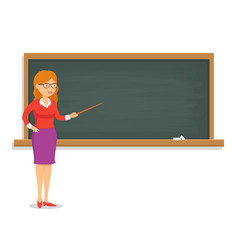 Female teacher teaching a lesson on the chalkboard vector