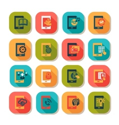 flat mobile icons vector image vector image