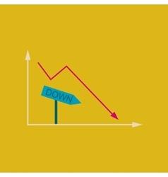 Flat web icon on stylish background falling graph vector