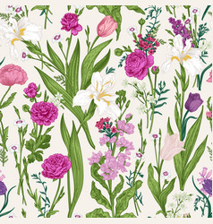 floral seamless pattern pink garden flowers vector image