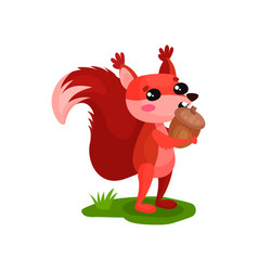 funny red squirrel standing on green grass and vector image
