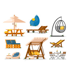 garden furniture outside wooden garden swing vector image