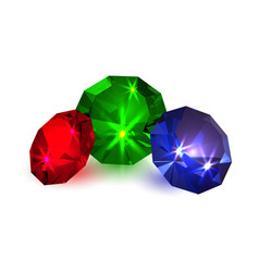 Gems colored diamonds on a white background vector