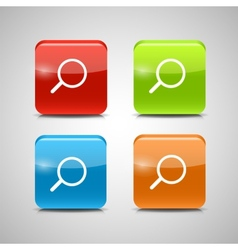 Glass search button icon set vector