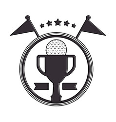 Golf trophy cup championship award icon vector