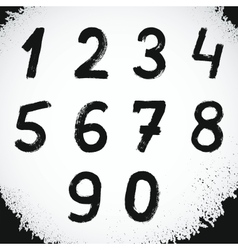 Grunge Style Font Grunge Numbers Symbols vector