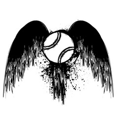 grunge tennis with wings vector image