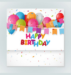 happy birthday greeting card design with confetti vector image