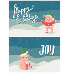 happy holidays and joy greeting cards pigs symbols vector image