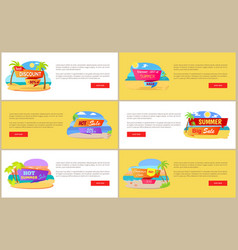 hot summer sale at internet shop web pages set vector image