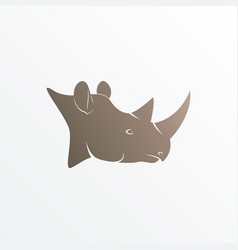 Image of brown rhino head vector
