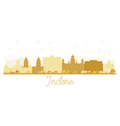 Indore india city skyline silhouette with golden vector