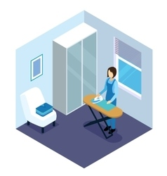 Ironing Of Clothes Isometric Composition vector