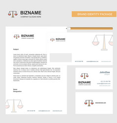 Justice business letterhead envelope and visiting vector