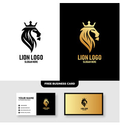 Lion king logo with corwn element template vector