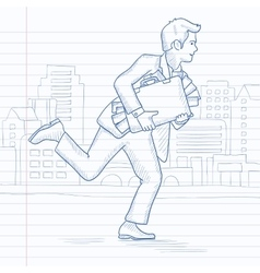 Man running with suitcase full of money vector