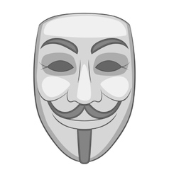 Mask of anonymous icon gray monochrome style vector