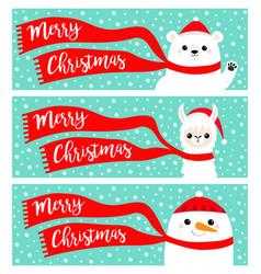 merry christmas banner set alpaca llama bear vector image