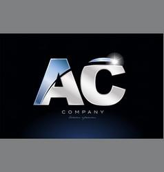 Metal blue alphabet letter ac a c logo company vector