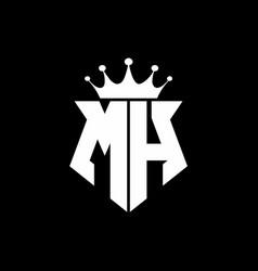 mh logo monogram shield shape with crown design vector image