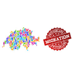 Migration collage of mosaic map of switzerland and vector