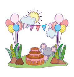 mouse with cake and balloons helium in field vector image