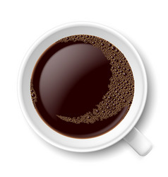 Mug of coffee top view on white background vector