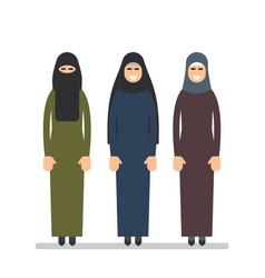 Muslim woman or arab woman in hijab women stand vector