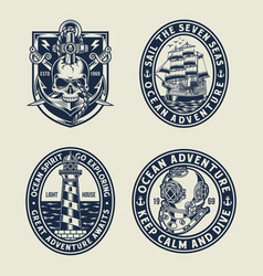 Nautical emblem t-shirt graphic collection vector