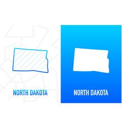 North dakota - us state contour line in white vector