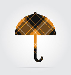 orange black tartan isolated icon - umbrella vector image