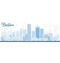 Outline boston skyline with blue buildings vector