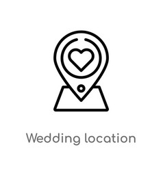 Outline wedding location icon isolated black vector