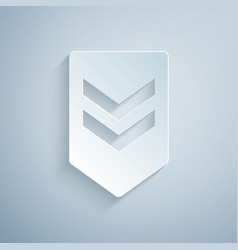 Paper cut chevron icon isolated on grey background vector
