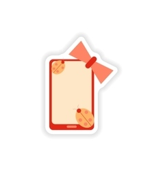 Paper sticker on white background mobile phone bow vector