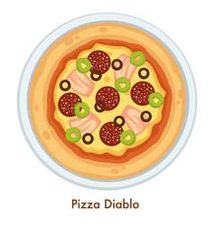 pizza diablo italian food dish salami and cheese vector image
