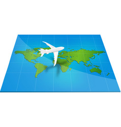 plane the world map with concept of three-dimensio vector image