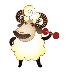 Ram dumbbell icon cartoon style vector