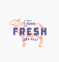 Retro print effect farm fresh lamb meat abstract vector