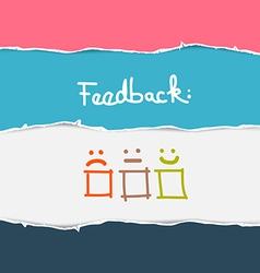 Retro torn paper feedback background vector