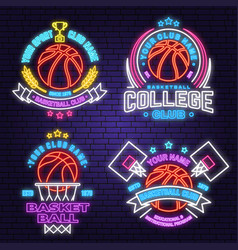set basketball club neon design or emblem vector image